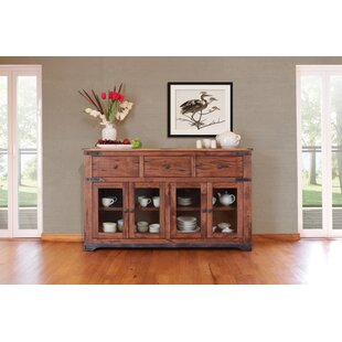 Millwood Pines Stodola 3 Drawer 4 Glass Door Sideboard