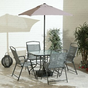 Isbell 4 Seater Dining Set With Parasol By Sol 72 Outdoor