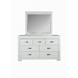 Ellington Circle 7 Drawer Double Dresser with Mirror