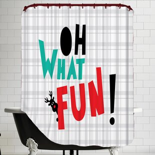 Oh What Fun Christmas Print Single Shower Curtain