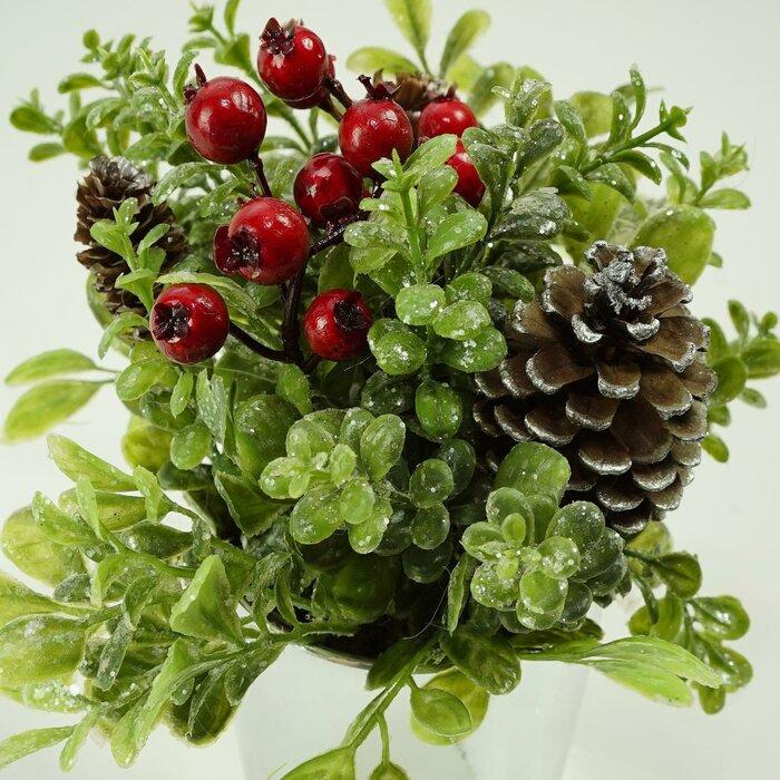 Christmas Succulent Arrangement.Artificial Decorative Christmas Floral Arrangement In Pot