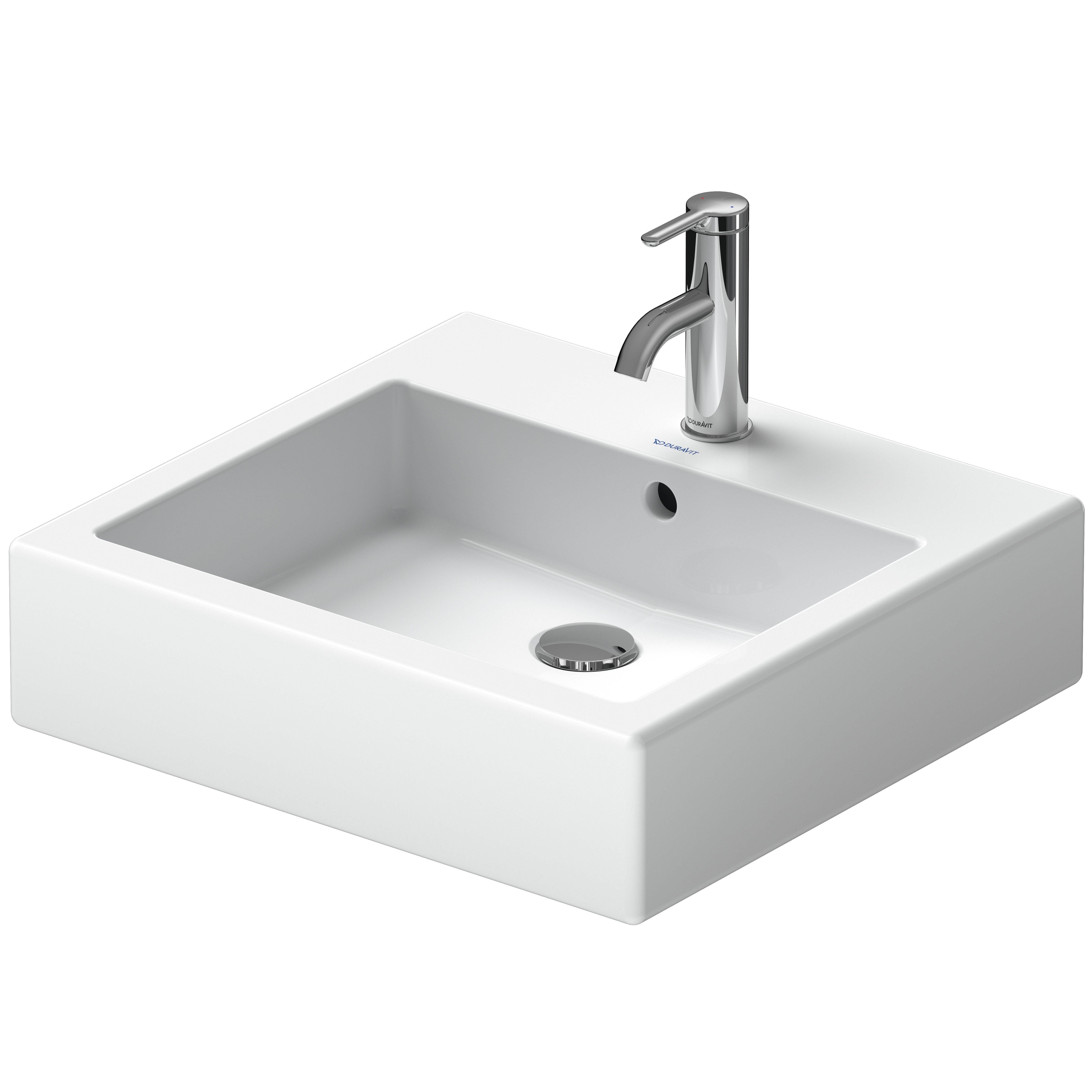 Vero White Ceramic Rectangular Vessel Bathroom Sink with Overflow