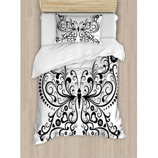 East Urban Home Animal Madam Butterfly Swirled Wings with Flower Spiritual Nature Image Duvet Set