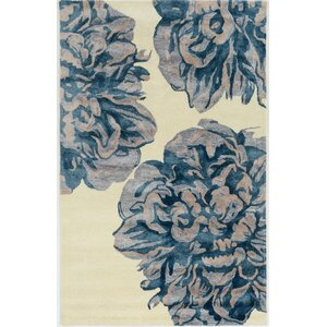 Bryana Hand-Tufted Ivory/Blue Area Rug
