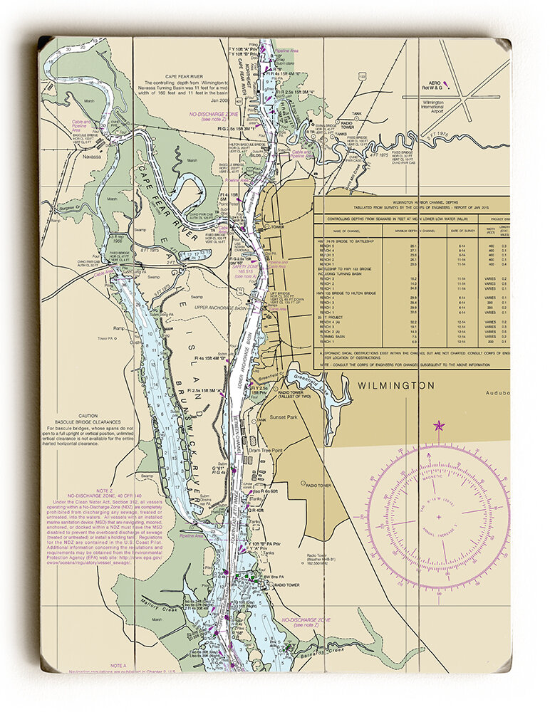 Longshore Tides Nc Wilmington Nc Nautical Chart Sign Graphic Art