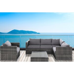 PE Wicker Rattan Pool Patio Garden 4 Piece Sectional Seating Group with Cushion