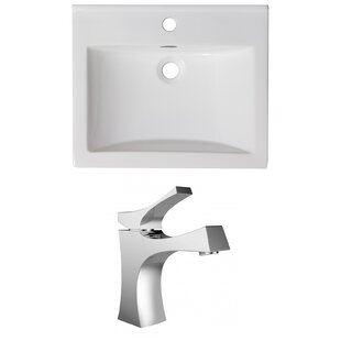 Find for 1 Hole Ceramic Rectangular Drop-In Bathroom Sink with Faucet and Overflow By American Imaginations