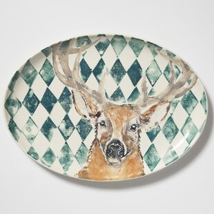 Into The Woods Deer Large Oval Decorative Plate
