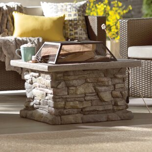 Laurel Foundry Modern Farmhouse Colton Faux Stone Wood Burning Fire Pit Table