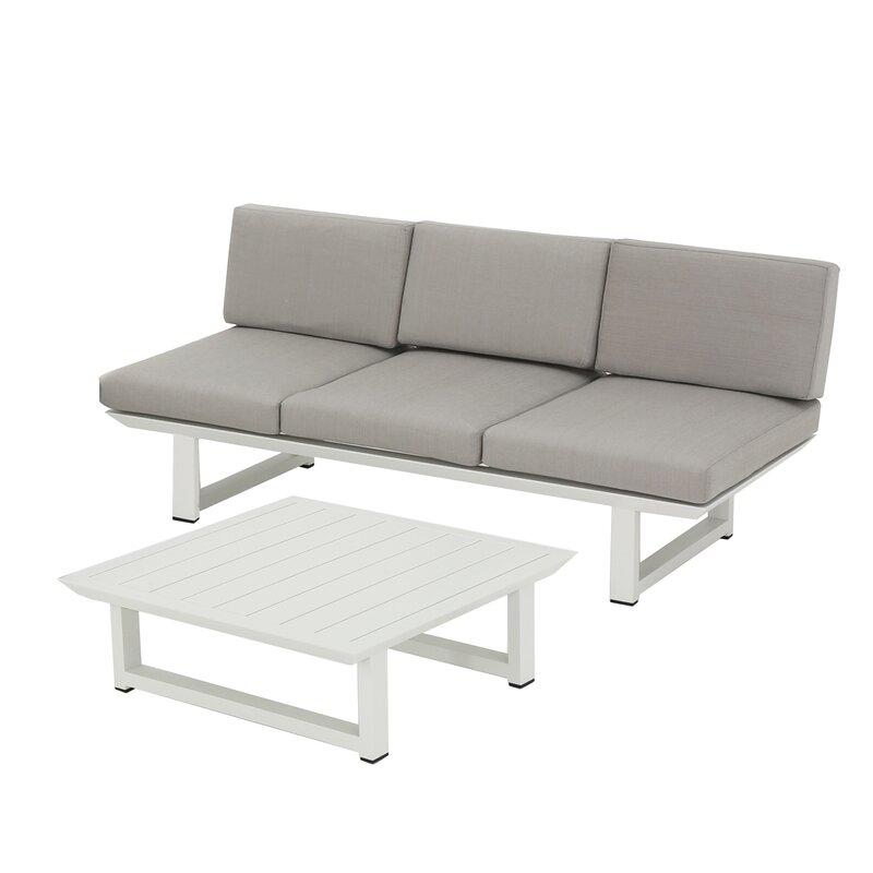 Mercury Row  Lingo 2 Piece Sofa Set with Cushions Frame Color: White