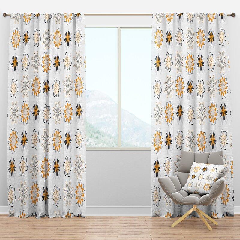 Designart Mid Century Retro Viii Floral Semi Sheer Thermal Rod Pocket Single Curtain Panel Wayfair