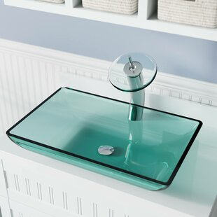 MR Direct Glass Rectangular Vessel Bathroom Sink with Faucet