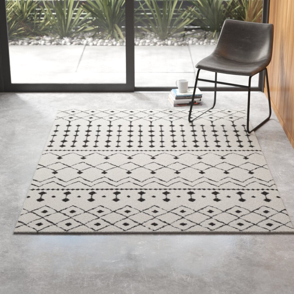 Union Rustic Rhodes Geometric Black Charcoal White Area Rug Reviews Wayfair