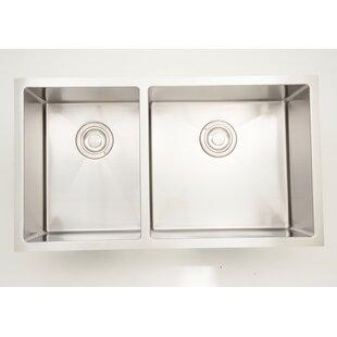 33 X 18 Double Basin Undermount Kitchen Sink with 18 Gauge