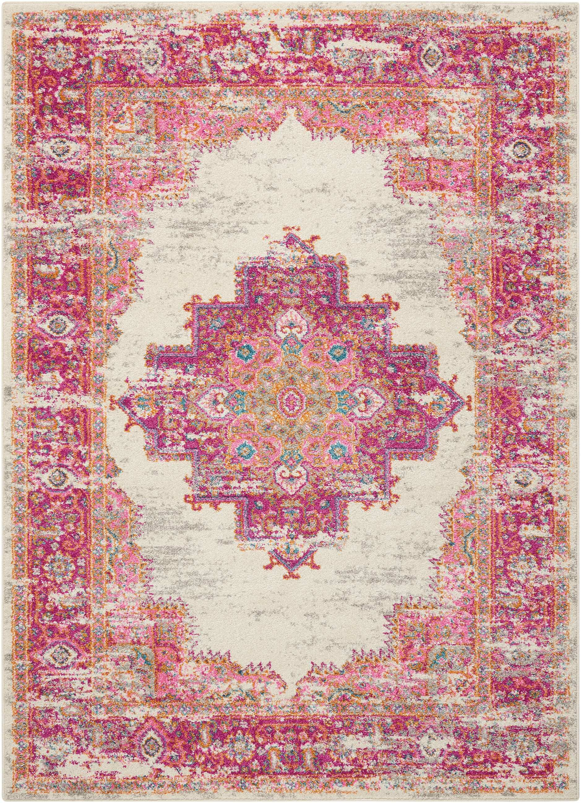 Mercury Row Dorset Ivory Fuchsia Indoor Area Rug Reviews Wayfair