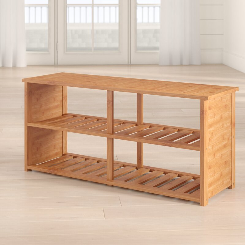 10-pair Bamboo Shoe Storage Bench