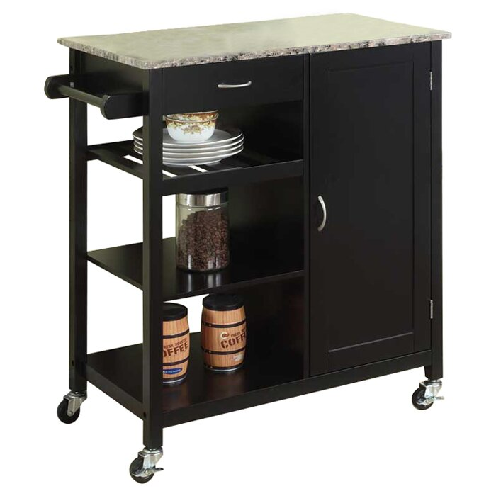 Auden Kitchen Cart With Faux Marble Top