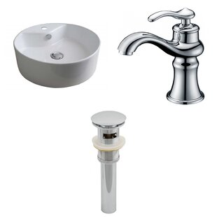 Purchase Ceramic Circular Vessel Bathroom Sink with Faucet and Overflow By Royal Purple Bath Kitchen