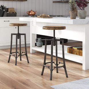 Oscar Swivel Adjustable Height Bar Stool by 17 Stories