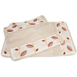 Alysia Leaf Banded 2 Piece Bath Rug Set