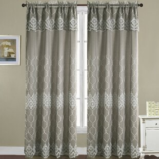 Laconia Damask Semi-Sheer Rod Pocket Single Curtain Panel by Charlton Home