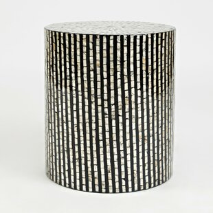 Aust Round Shaped Capiz End Table by Bungalow Rose