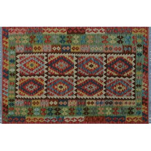 One-of-a-Kind Aulay Kilim Hand-Woven Red Premium Wool Area Rug