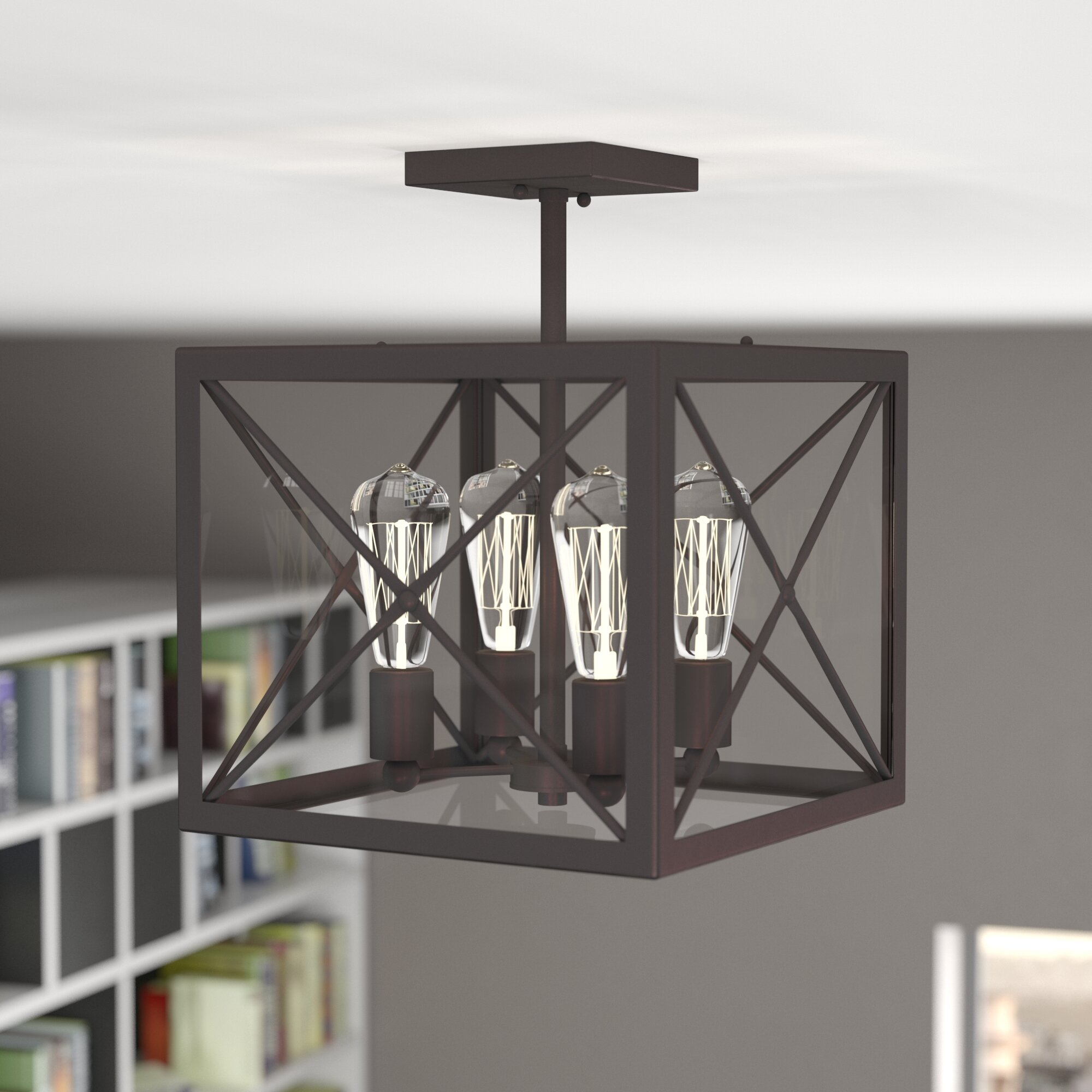 17 stories harlon 4 light semi flush mount reviews wayfair