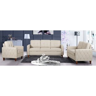 Harrad Tufted Mid-Century 3 Piece Living Room Set