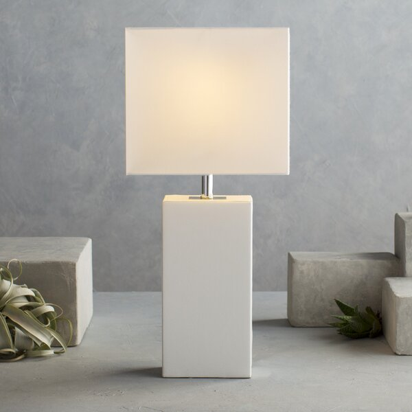 Modern Polished Chrome Square Tube Table Lamp with a Grey Rectangular Shade
