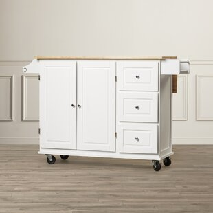 Hardiman Kitchen Cart with Wood Top Three Posts