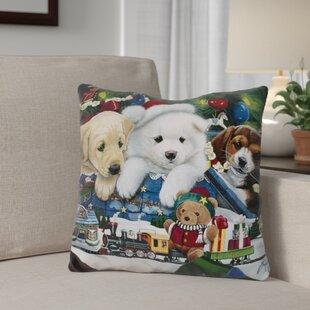 Berkey Curious Christmas Pups Throw Pillow