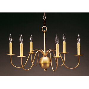 Sockets S-Arms Hanging 6-Light Candle-Style Chandelier