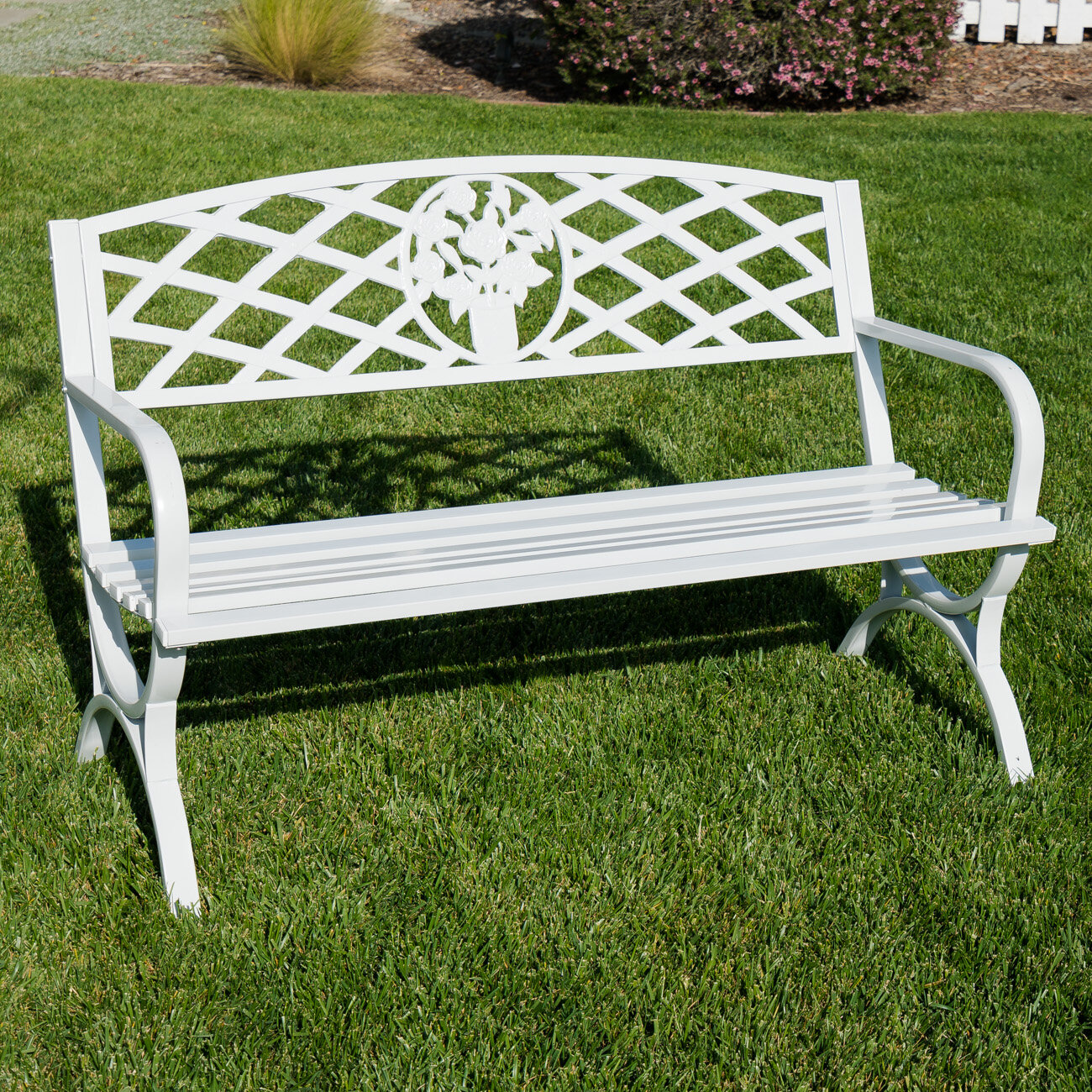 500 Lbs 50 Sturdy /& Comfortable Garden Bench Patio Outdoor Porch Chair Patio Park Seat Backrest Steel Frame Endurance 2 Seat Loveseat Deck Ideal For Along A Path Backyard Path Under Tree Home Garden