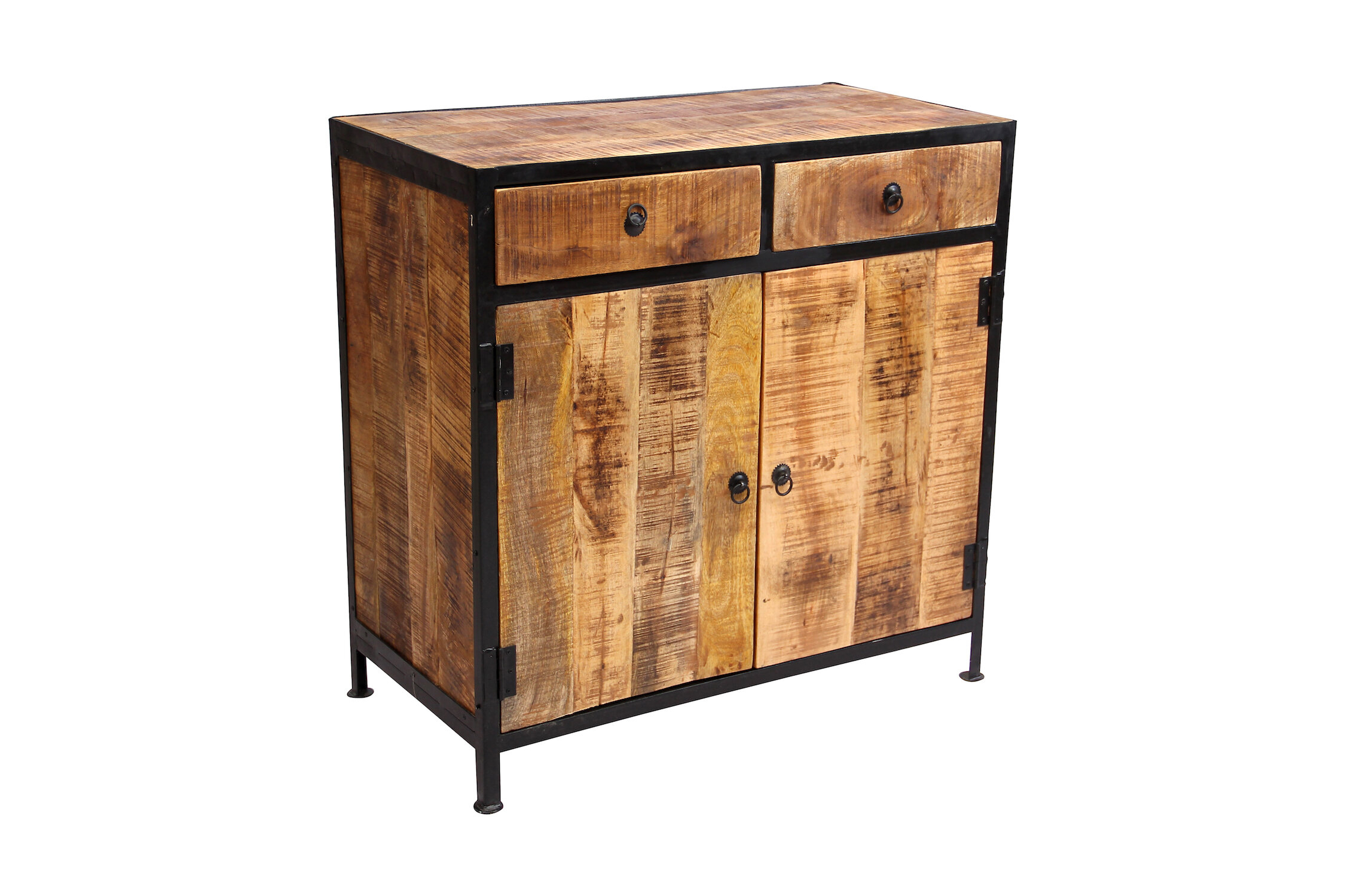 Millwood Pines Dante Reclaimed Wood And Iron 2 Drawer Sideboard Accent Cabinet Reviews Wayfair Ca