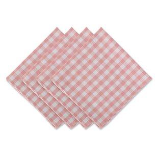 Pink Leaf Print Napkins Set of 4