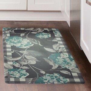 Hydrangea Plaid Border Kitchen Mat