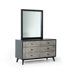 Crowborough Contemporary 6 Drawer Double Dresser with Mirror