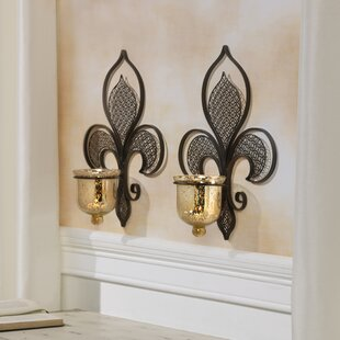Metal Filigree Fleur De Lis Sconce Set Of 2