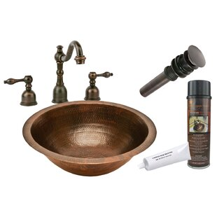 Hammered Metal Circular Undermount Bathroom Sink with Faucet By Premier Copper Products