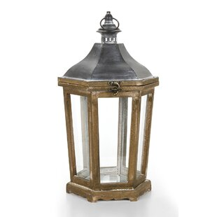 Brown Wooden Lantern by Gracie Oaks