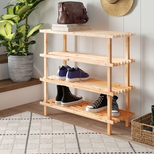 4 Tier 12 Pair Wooden Shoe Rack By Natur Pur