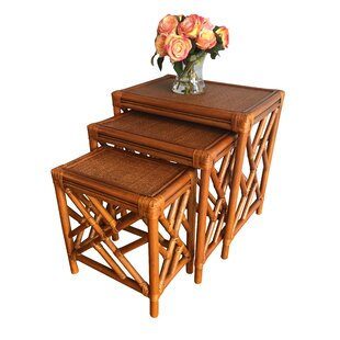 Bay Isle Home Colusa Rattan 3 Piece Nesting Tables