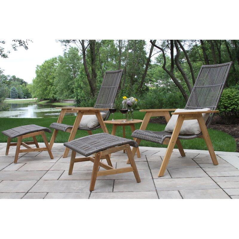 Joss Main Bruges Teak Patio Chair With Cushions And Ottoman Reviews Wayfair