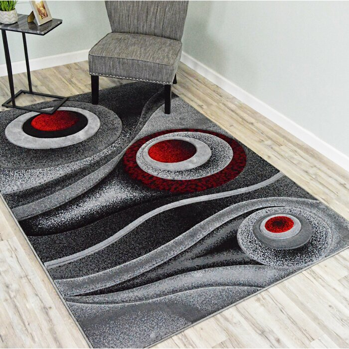 Mccampbell Red Grey Black Area Rug