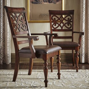 Leopoldo Armed Upholstered Dining Chair (Set of 2) Fleur De Lis Living