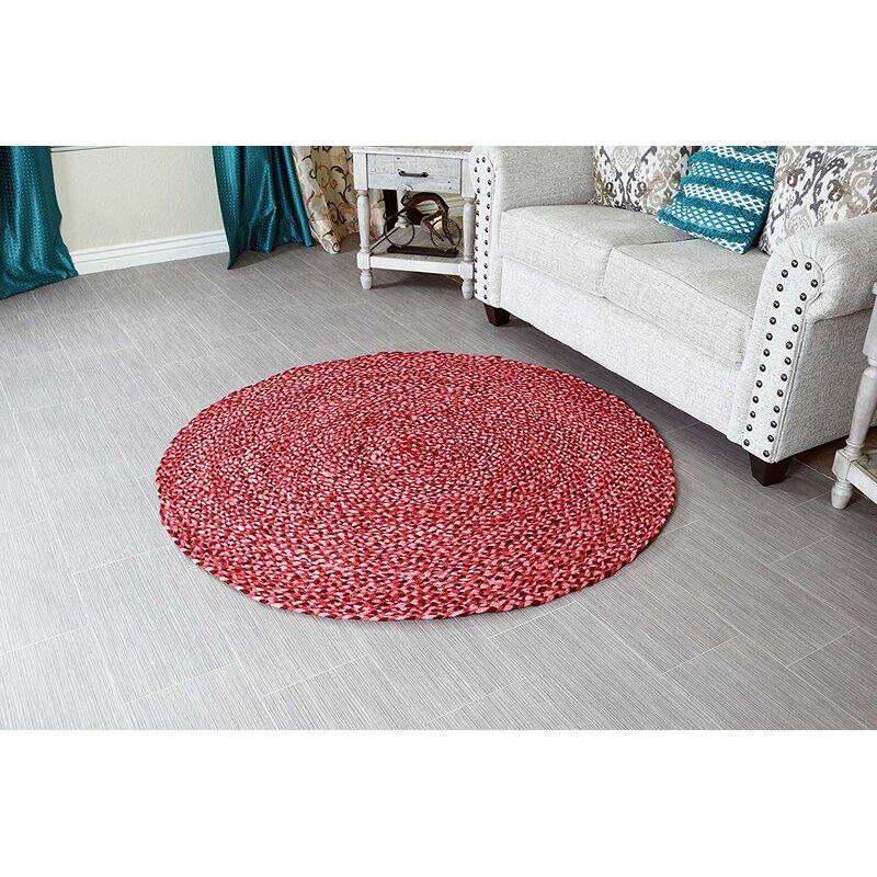 Bungalow Rose Round Emraan Handmade Braided Cotton Red Area Rug Wayfair