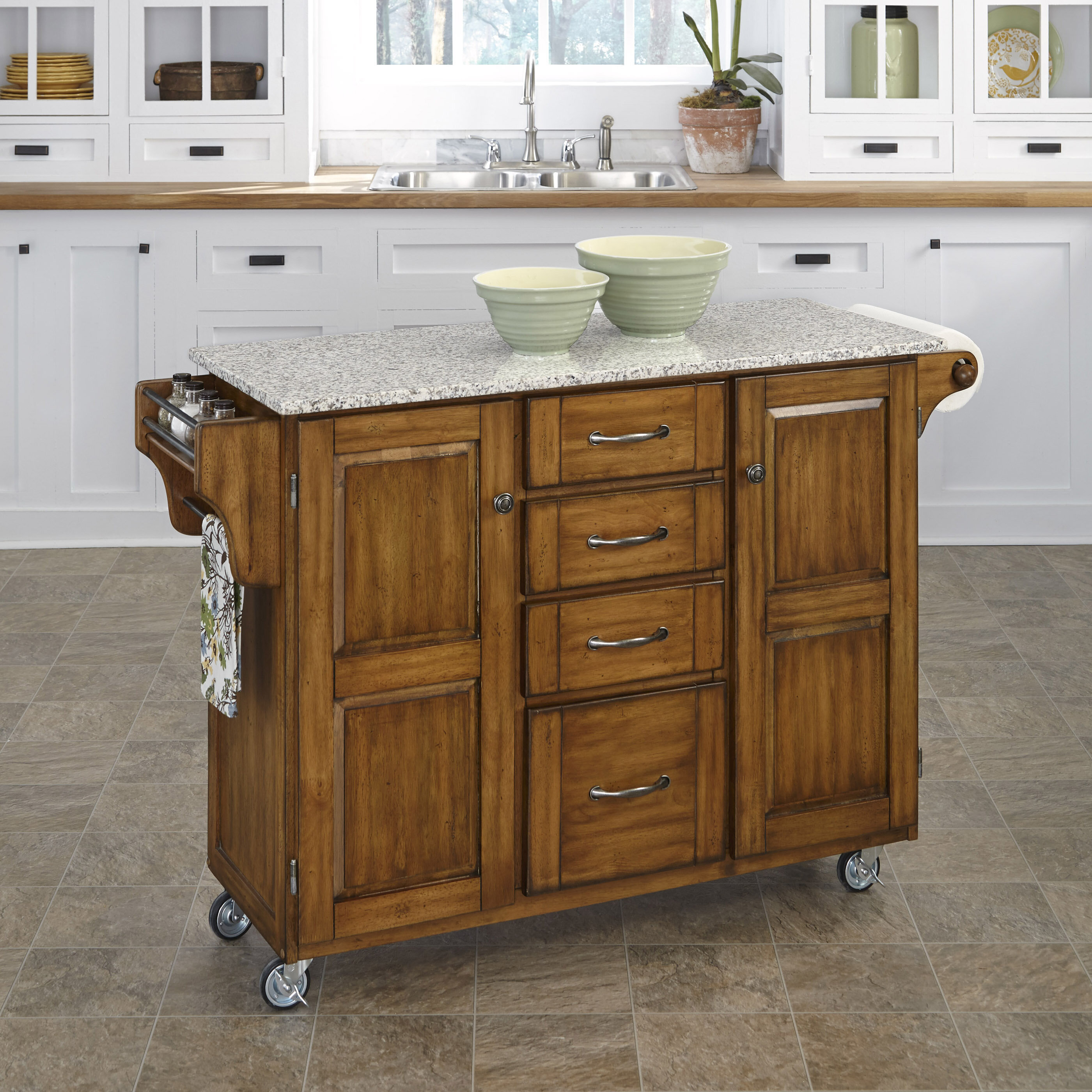 Millwood Pines Legler A Cart Kitchen Island With Granite Top