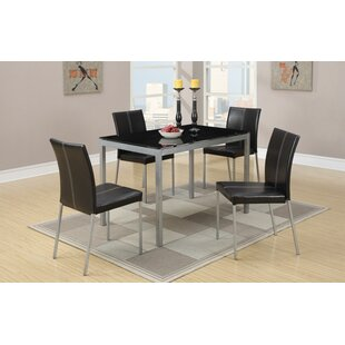 Ching Temper Glass And Metal Frame 5 Piece Dining Set by Ebern Designs Discount