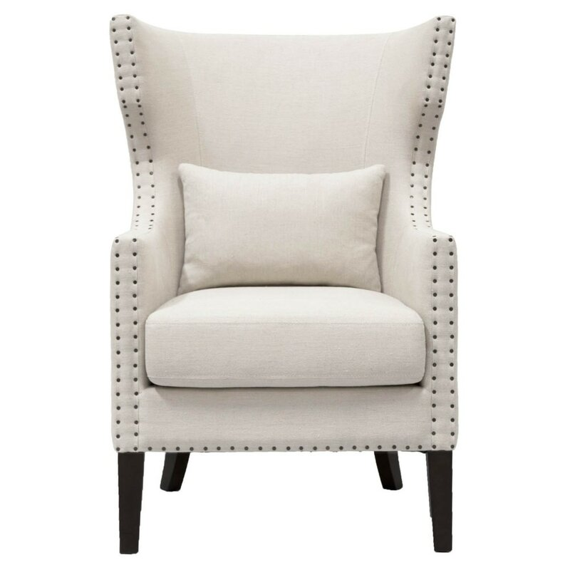 Abbie Wooden Frame Upholstered Wingback Chair